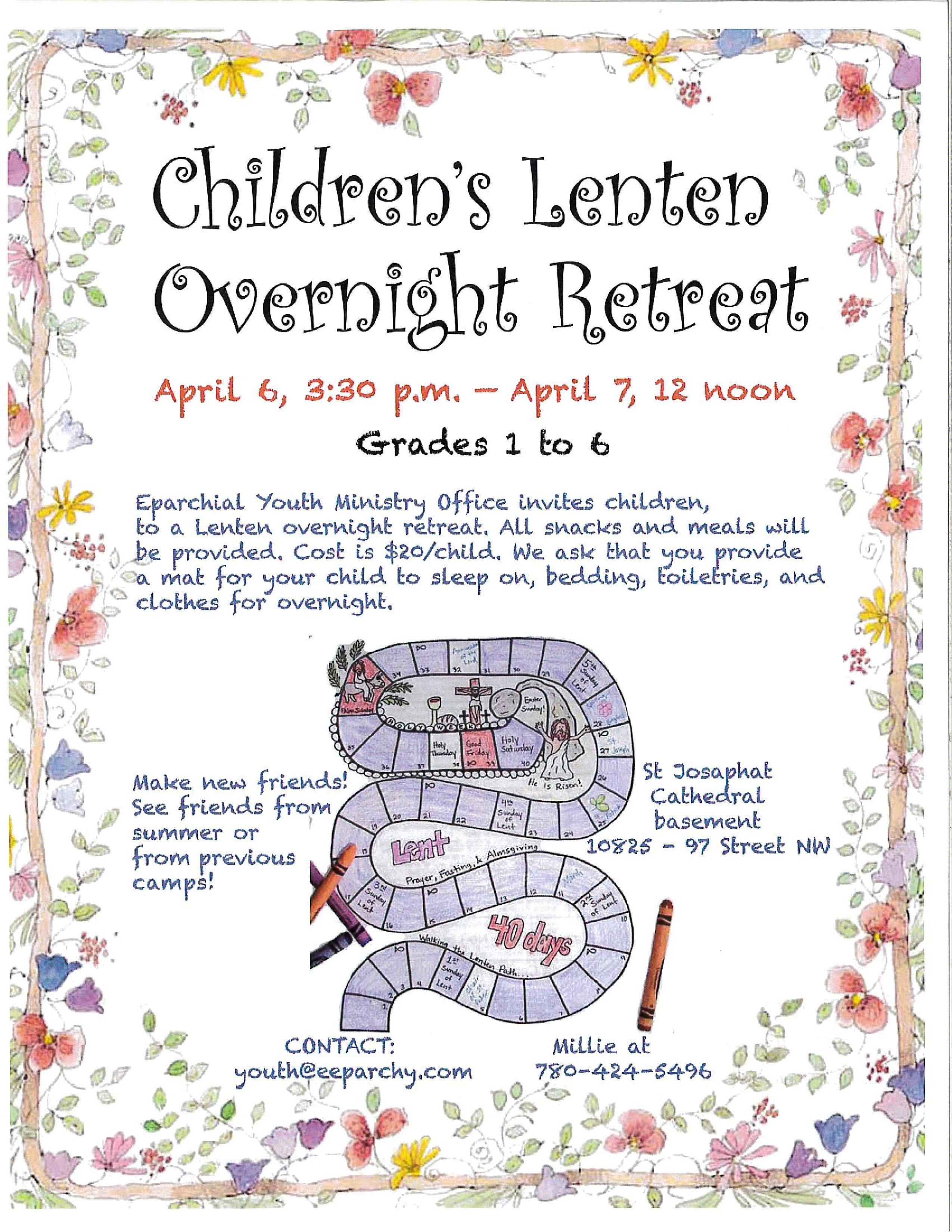 Children's Lenten Overnight Retreat